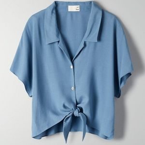 Aritzia Huang Wilfred Free Tie Front Blouse